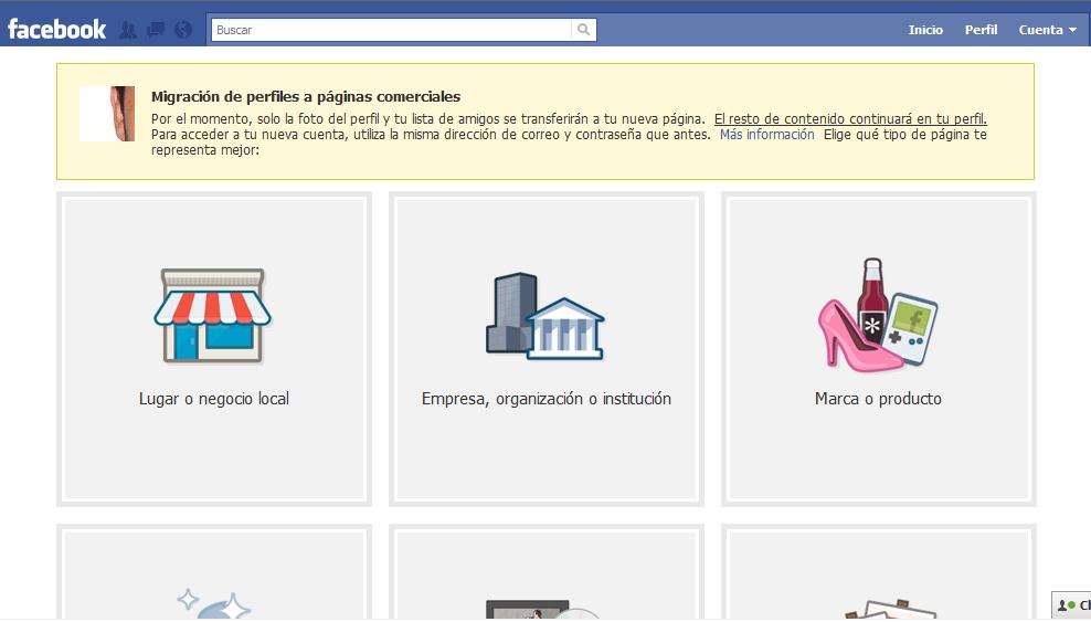 Migrar Usuario a Página de Facebook